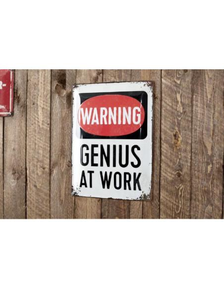 "Tabla z napisom ""GENIUS AT WORK"" (genij na delu)."
